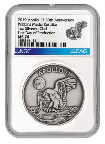 1969-2019 Apollo 11 50th Anniversary Robbins Medals 1 oz Silver-Plated Antiqued Medal NGC MS70 First Day of Production