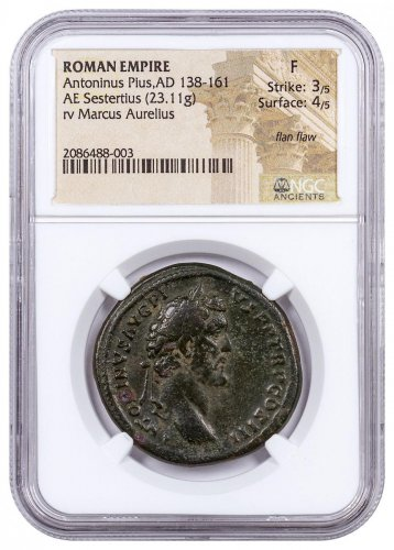 Roman Empire, Antoninus Pius (AD 138-161) AE Sestertius – NGC F (Strike: 3/5, Surface: 4/5) WITH MARCUS AURELIUS