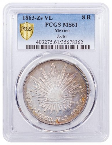 1863-Zs VL Mexico Silver 8 Reales PCGS MS61