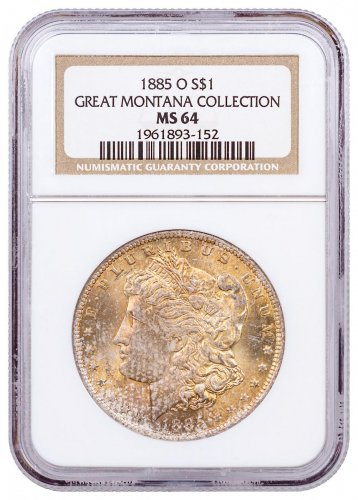 1885-O Morgan Silver Dollar From the Great Montana Collection NGC MS64 CPCR 3152