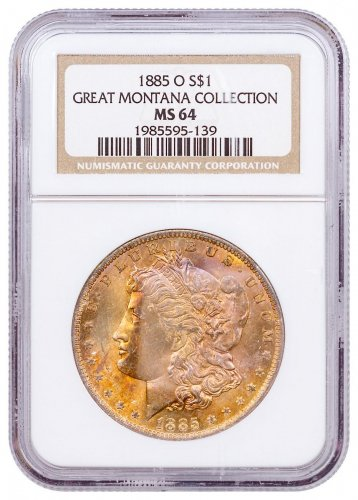1885-O Morgan Silver Dollar From the Great Montana Collection NGC MS64 CPCR 5139