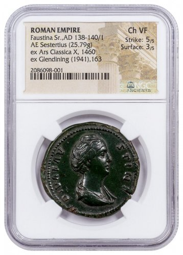 Roman Empire, Faustina Sr. (AD 138-140/1) AE Sestertius – NGC Ch. VF (Strike: 5/5, Surface: 3/5) GREAT PEDIGREE