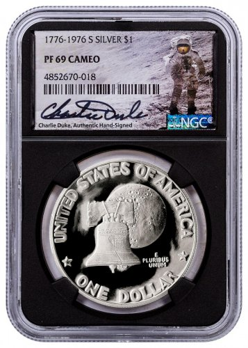 1976-S Silver Proof Eisenhower Dollar NGC PF69 Cameo Black Core Holder Charlie Duke Signed label