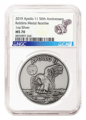 1969-2019 Apollo 11 50th Anniversary Robbins Medals 1 oz Silver with Space Flown Alloy Antiqued Medal NGC MS70