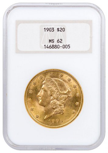 1903 Liberty Head $20 Gold Double Eagle NGC MS62
