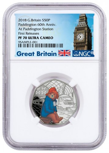 2018 Great Britain Paddington Bear - At Paddington Station 8 g Silver Proof 50p Coin NGC PF70 UC FR Exclusive Big Ben Label