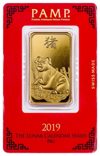 2019 PAMP Lunar Year of the Pig 1 oz Gold Bar In Assay
