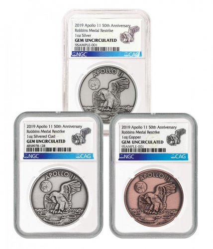 1969-2019 Apollo 11 50th Anniversary Robbins Medals 3-Coin Set Medal NGC GEM Unc