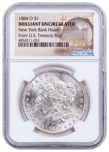 1884-O Morgan Silver Dollar From the New York Bank Hoard NGC BU