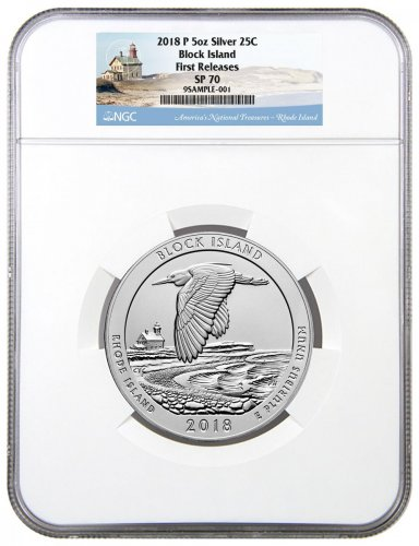 2018 Block Island 5 oz. Silver America the Beautiful Specimen Coin NGC SP70 FR