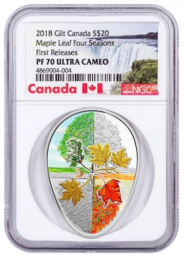 2018 Canada Four Seasons of the Maple Leaf Egg Shaped 1 oz Silver Gilt Proof $20 Coin NGC PF70 UC FR Exclusive Canada Label