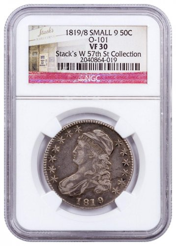 1819/8 Silver Capped Bust Half Dollar From Stack's W 57th St. Collection NGC VF30 Small 9 O-101