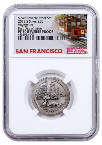 2018-S Silver Voyageurs National Park Reverse Proof America the Beautiful Quarter NGC PF70 FDI Trolley Label