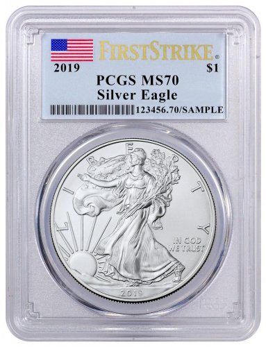2019 American Silver Eagle PCGS MS70 FS Flag Label