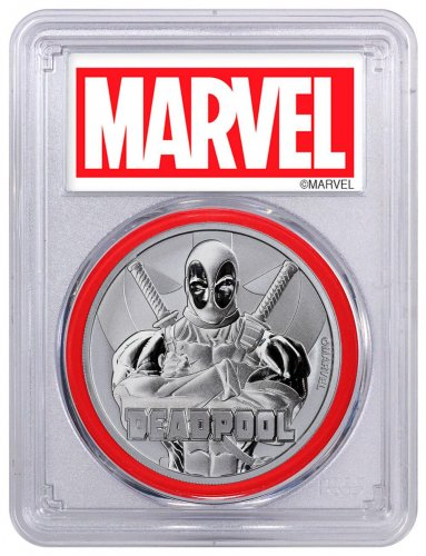 2018 Tuvalu Deadpool 1 oz Silver Marvel Series $1 Coin PCGS MS70 FS Marvel label
