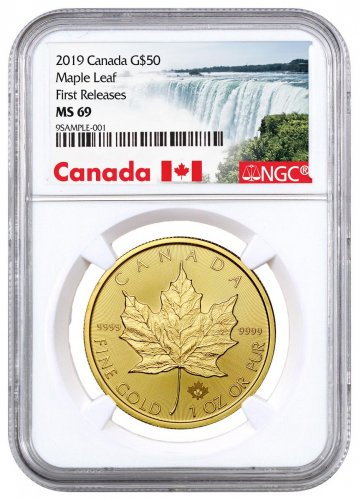 2019 Canada 1 oz Gold Maple Leaf $50 Coin NGC MS69 FR Exclusive Canada Label