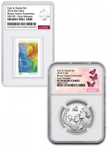 2018-S Breast Cancer Awareness Commemorative Clad Half Dollar Proof Coin NGC PF70 ER UC with Coin and Stamp Set Breast Cancer Label