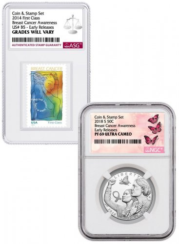 2018-S Breast Cancer Awareness Commemorative Clad Half Dollar Proof Coin NGC PF69 UC ER with Coin and Stamp Set Breast Cancer Label