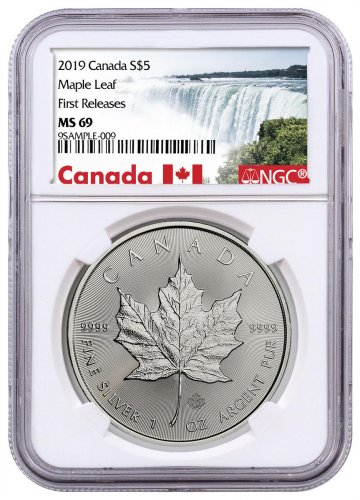 2019 Canada 1 oz Silver Maple Leaf $5 Coin NGC MS69 FR Exclusive Canada Label