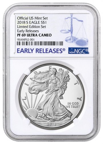 2018 S Proof Silver Eagle Pcgs Pr70 D First Day Of Issue Mercanti Signed Bridge Label
