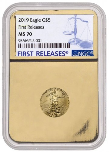 2019 1/10 oz Gold American Eagle $5 NGC MS70 FR Gold Foil Core
