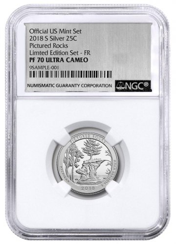 2018-S Silver Pictured Rocks Proof America the Beautiful Quarter From Limited Edition Silver Proof Set NGC PF70 UC ER Silver Foil Label