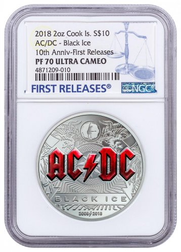 2018 Cook Islands AC/DC - Black Ice 2 oz Silver Proof $10 Coin NGC PF70 UC FR