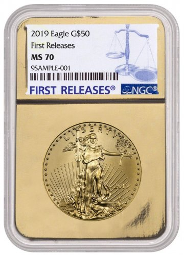 2019 1 oz Gold American Eagle $50 NGC MS70 FR Gold Foil Core