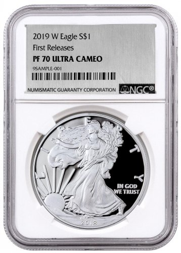 2019-W Proof American Silver Eagle NGC PF70 UC FR Exclusive Silver Foil label