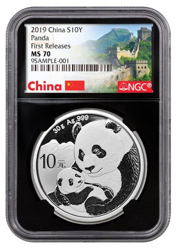 2019 China 30 g Silver Panda ¥10 Coin NGC MS70 FR Black Core Holder Exclusive Great Wall Label