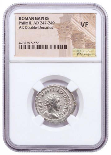 AD 247-249 Roman Empire Silver Double-Denarius of Philip II NGC VF