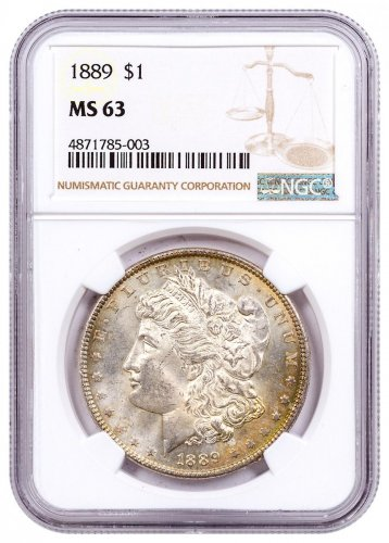 1889 Morgan Silver Dollar Toned NGC MS63 CPCR 5003
