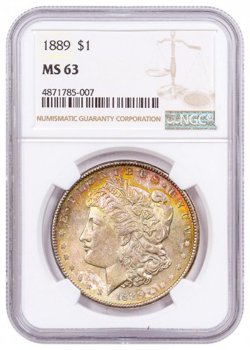1889 Morgan Silver Dollar Toned NGC MS63 CPCR 5007