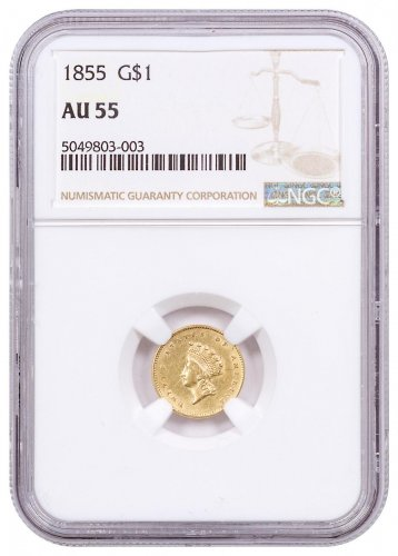 1855 Gold Type 2 Indian Princess NGC AU55