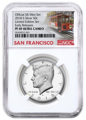 2018-S Silver Proof Kennedy Half Dollar From Limited Edition Silver Proof Set NGC PF69 UC ER Trolley Label