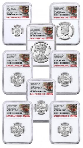 8-Coin Set - 2018-S U.S. Limited Edition Silver Proof Coins Set From Limited Edition Silver Proof Set NGC PF69 UC ER Trolley Label