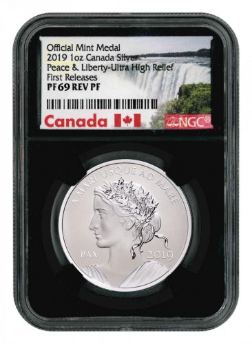 2019 Canada Peace & Liberty Ultra High Relief 1 oz Silver Reverse Proof Medal NGC PF69 FR Black Core Holder Exclusive Canada Label
