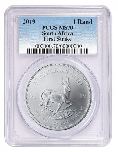 2019 South Africa 1 oz Silver Krugerrand 1 Coin PCGS MS70 FS