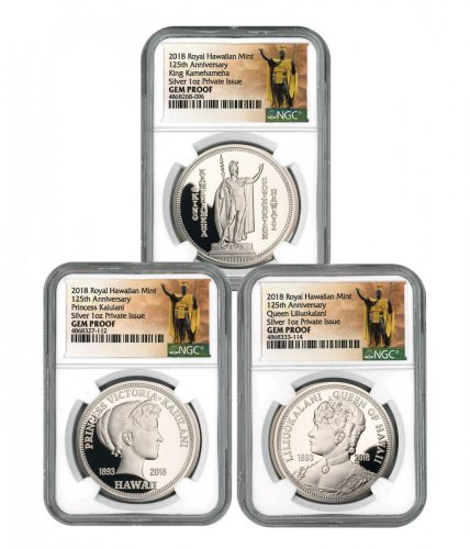 Royal Hawaiian Mint King Kalakaua I 125th Anniversary 3-Coin Set 1 oz Silver Proof Medal NGC GEM Proof