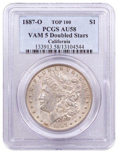 1887-O Morgan Silver Dollar Top 100 PCGS AU58 VAM-5 Doubled Stars California