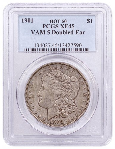 1901 Morgan Silver Dollar Hot 50 PCGS XF45 VAM-5 Doubled Ear