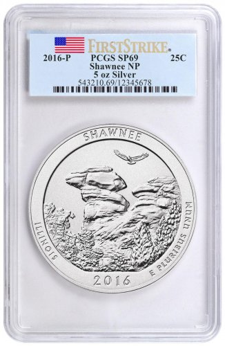 2016-P Shawnee 5 oz. Silver America the Beautiful Specimen Coin PCGS SP69 FS (Flag Label)