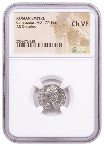 AD 177-192 Roman Empire Silver Denarius of Commodus NGC Ch. VF