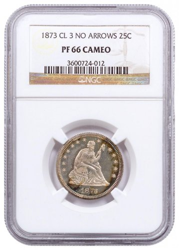 1873 Silver Proof Seated Liberty Quarter NGC PF66