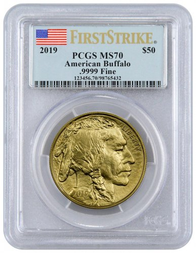 2019 1 oz Gold Buffalo $50 Coin PCGS MS70 FS Flag Label