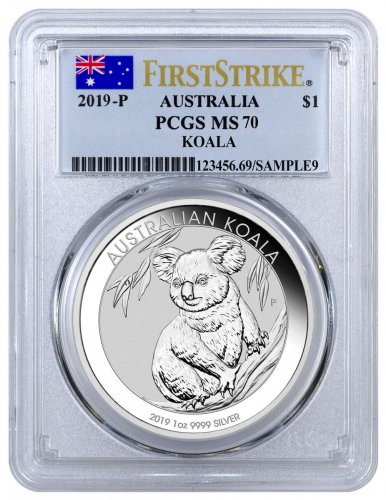 2019-P Australia 1 oz Silver Koala $1 Coin PCGS MS70 FS Flag Label