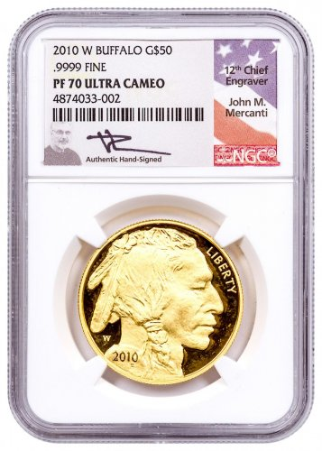 2010-W 1 oz Gold Buffalo Proof $50 NGC PF70 UC Mercanti Signed Flag Label