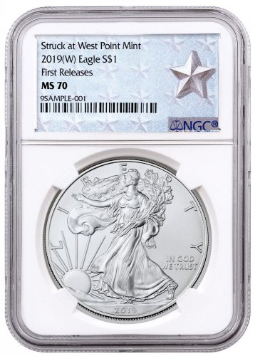 2019-(W) American Silver Eagle Struck at West Point NGC MS70 FR West Point Silver Star Label
