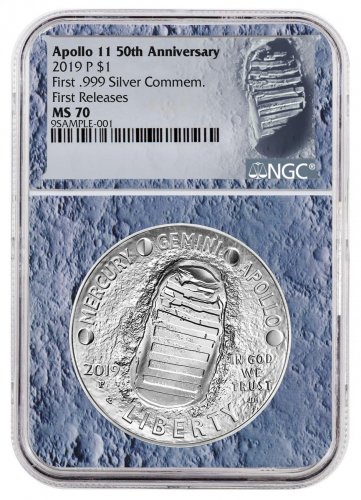 2019-P Apollo 11 50th Anniversary Commemorative Silver Dollar Coin NGC MS70 FR With Apollo 11 Mission Patch Moon Core Holder