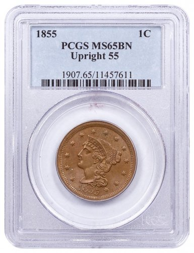 1855 Braided Hair Large Cent Upright 55 PCGS MS65 BN